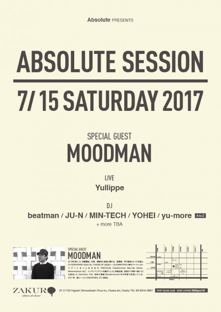 ABSOLUTE SESSION feat. MOODMAN フライヤー表